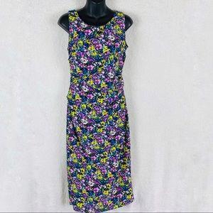 NWT Zara Floral Print Ruched Sheath Midi Dress M